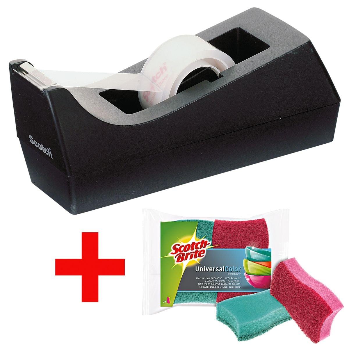 Scotch Tischabroller-Set »C38 + Crystal Clear Tape 600« inkl. 2er-Pack Reinigungsschwämme »Universal Color«