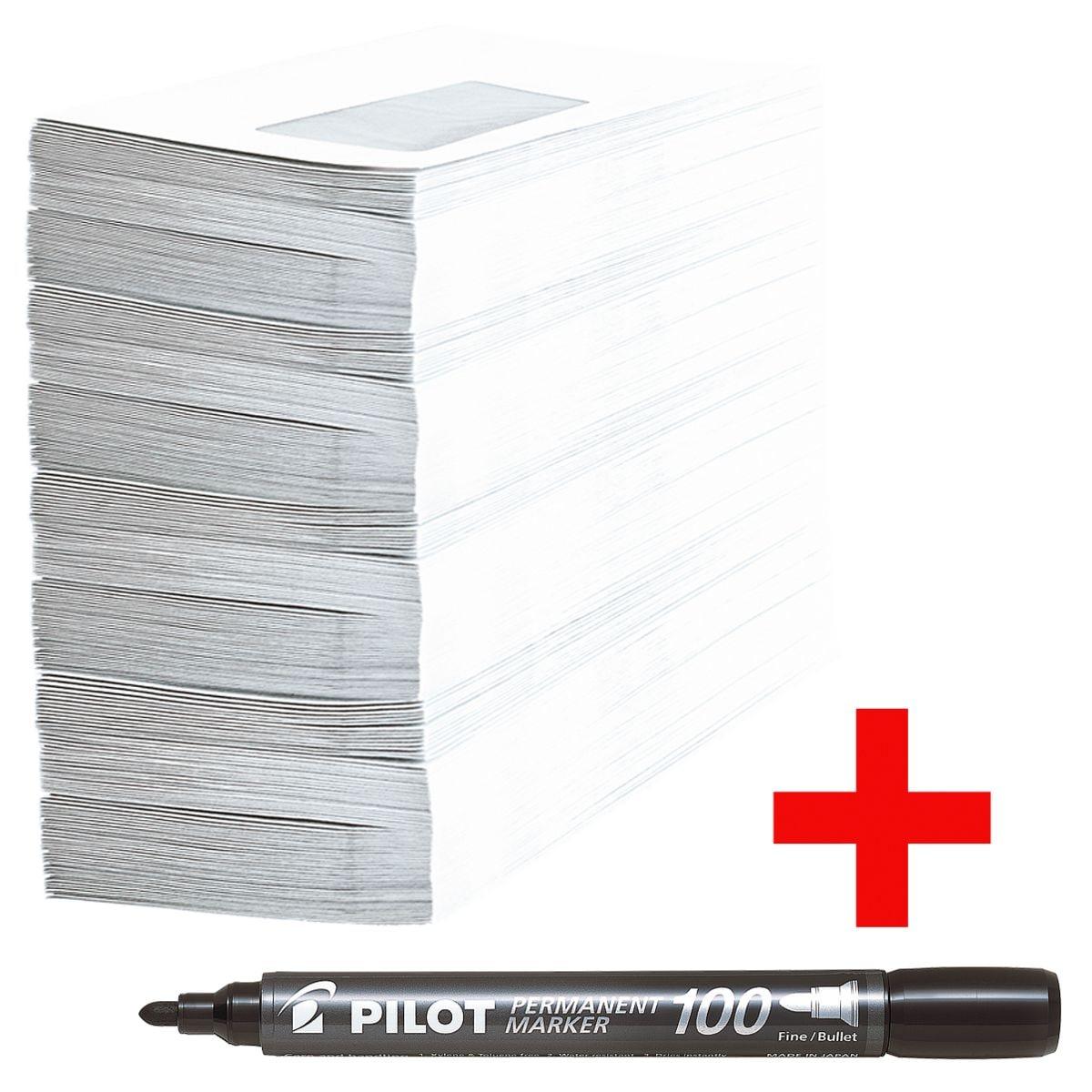Briefumschläge, DL 75 g/m² mit Fenster - 1000 Stück inkl. Permanent-Marker »SCA-100«