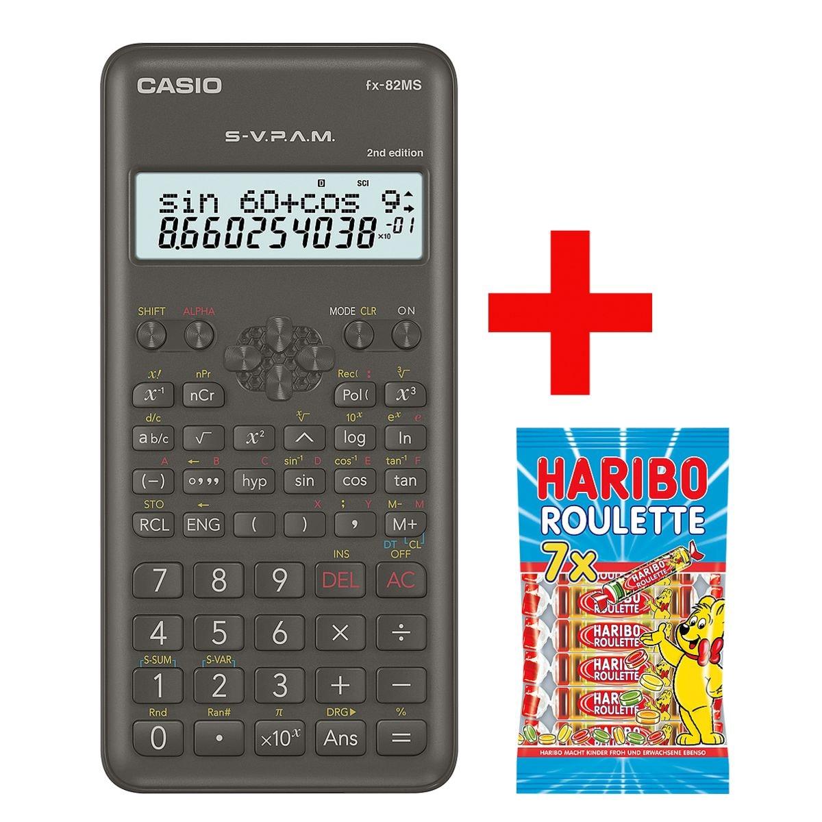 CASIO Taschenrecher »FX-82MS« inkl. Fruchtgummi »Roulette« 7 x 25g