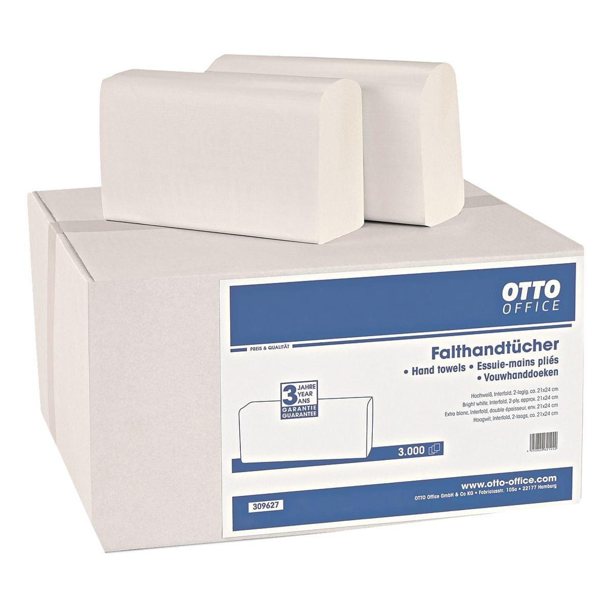 Papierhandtücher OTTO Office 2-lagig, hochweiß, 21 cm x 24 cm aus Zellstoff mit I-Falzung - 3000 Blatt gesamt