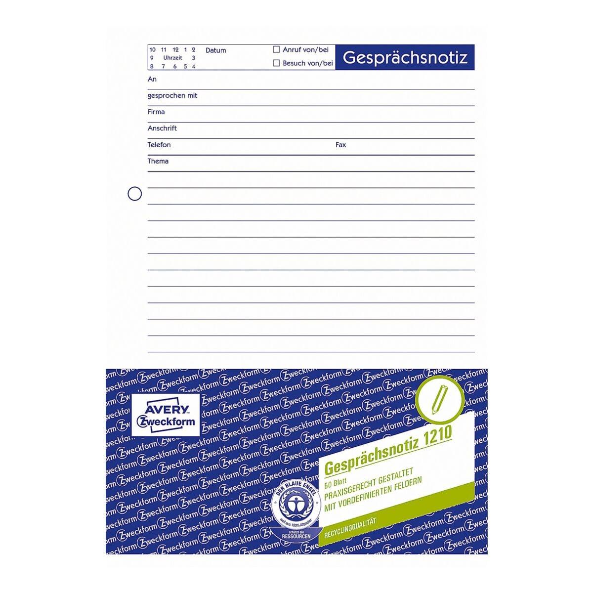 Avery Zweckform Formularvordrucke »Gesprächsnotiz« (Recyclingpapier)
