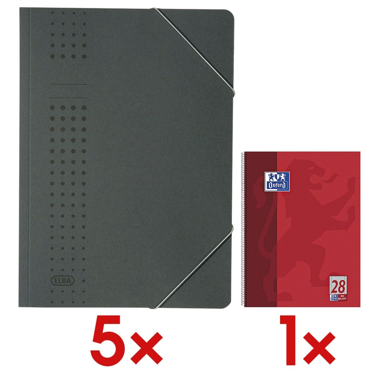 Elba 5x Eckspannermappe A4 »chic« 400010 320 g/m²-Karton inkl. Collegeblock »Schule« A4 kariert
