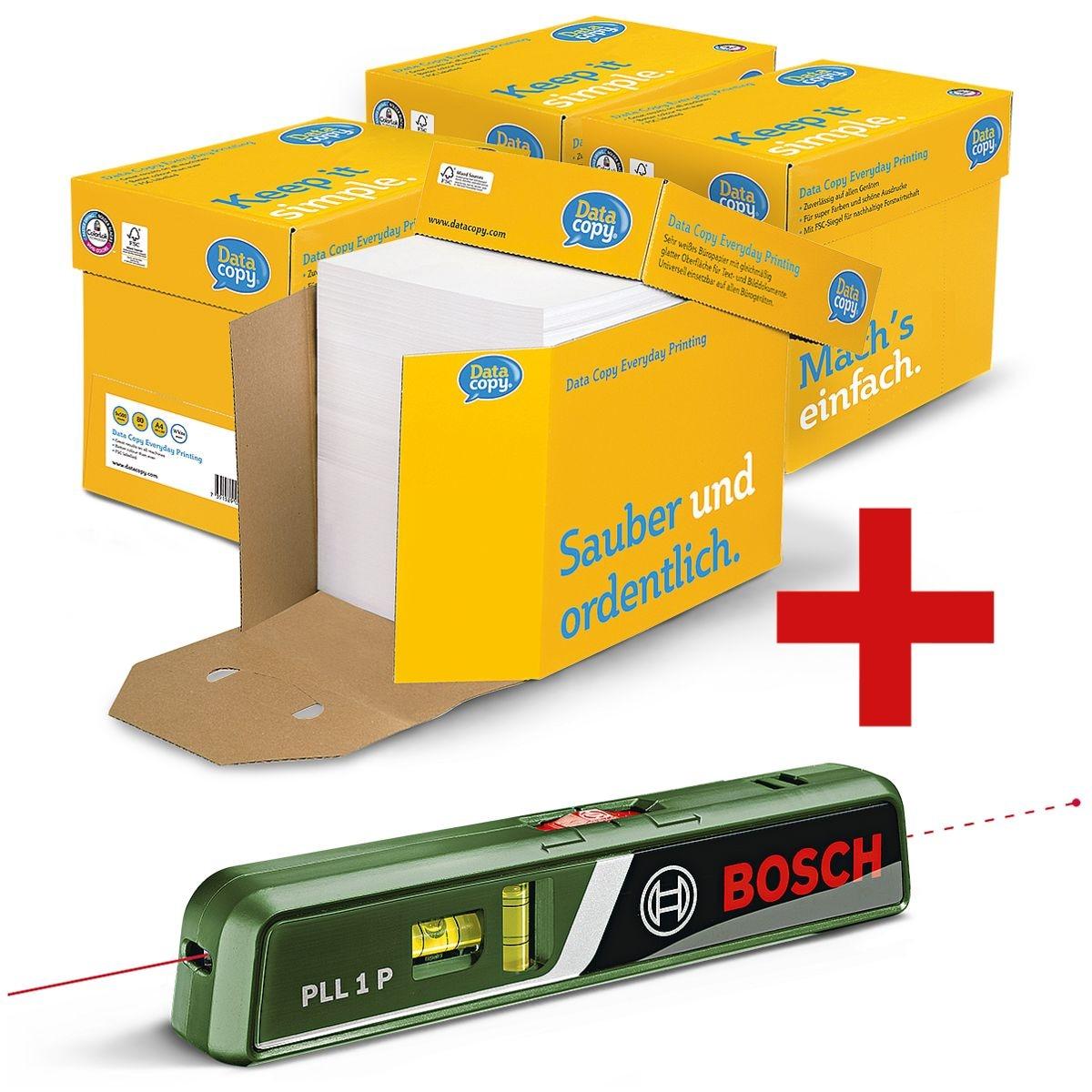 4x Öko-Box Multifunktionales Druckerpapier A4 Data-Copy Everyday Printing - 10000 Blatt gesamt inkl. Laser-Wasserwaage »PLL 1 P«