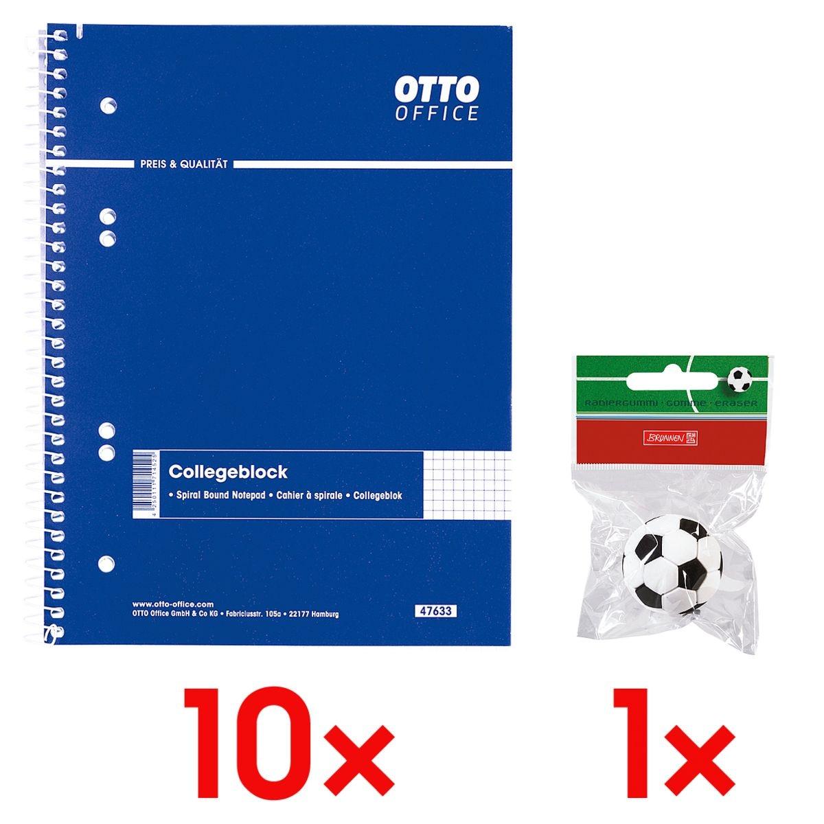 10x OTTO Office Collegeblock A5 kariert, 80 Blatt inkl. Radierer »Fußball«