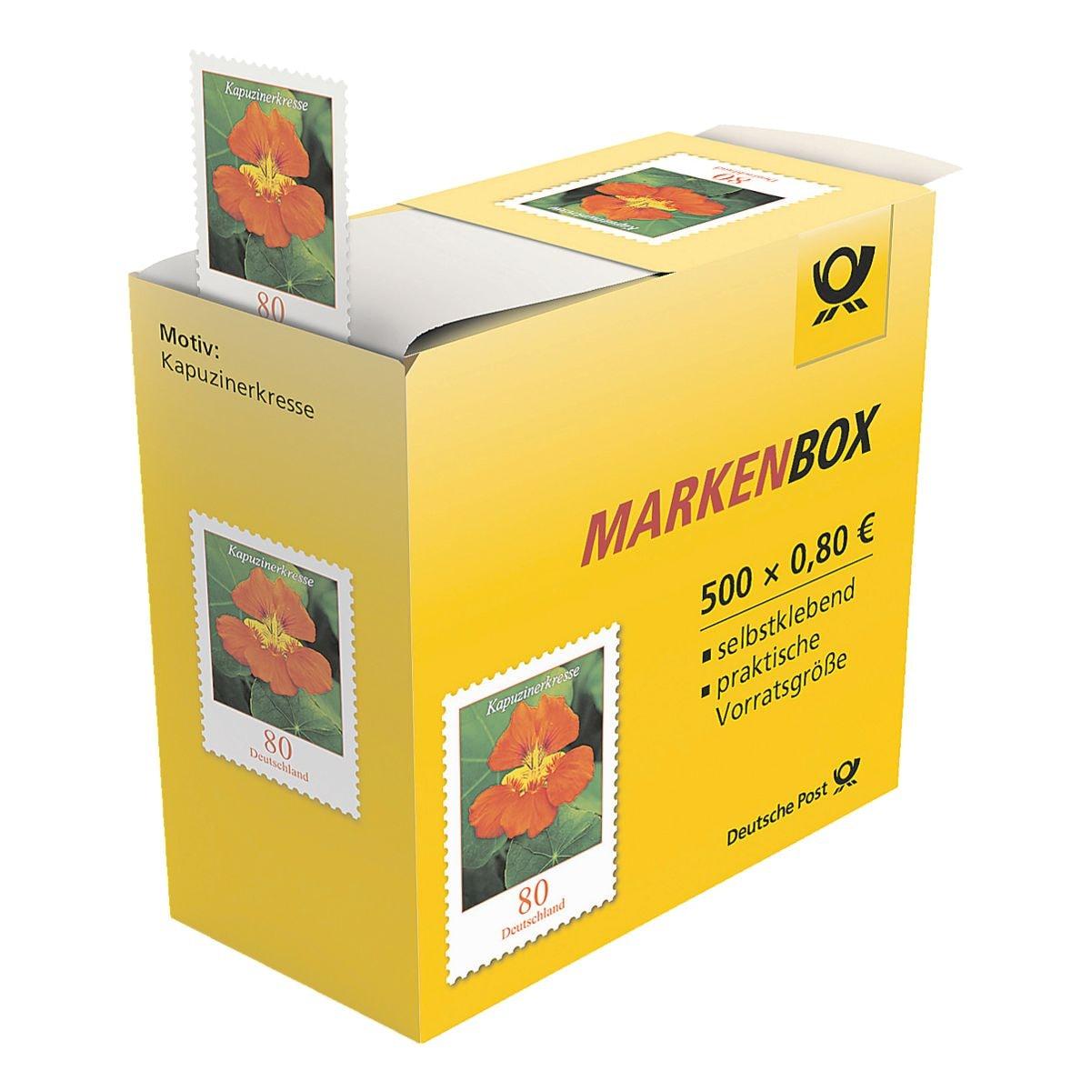 Deutsche Post Markenbox Kapuzinerkresse, 500x Briefmarke im Abrollspender zu 0,80 € selbstklebend