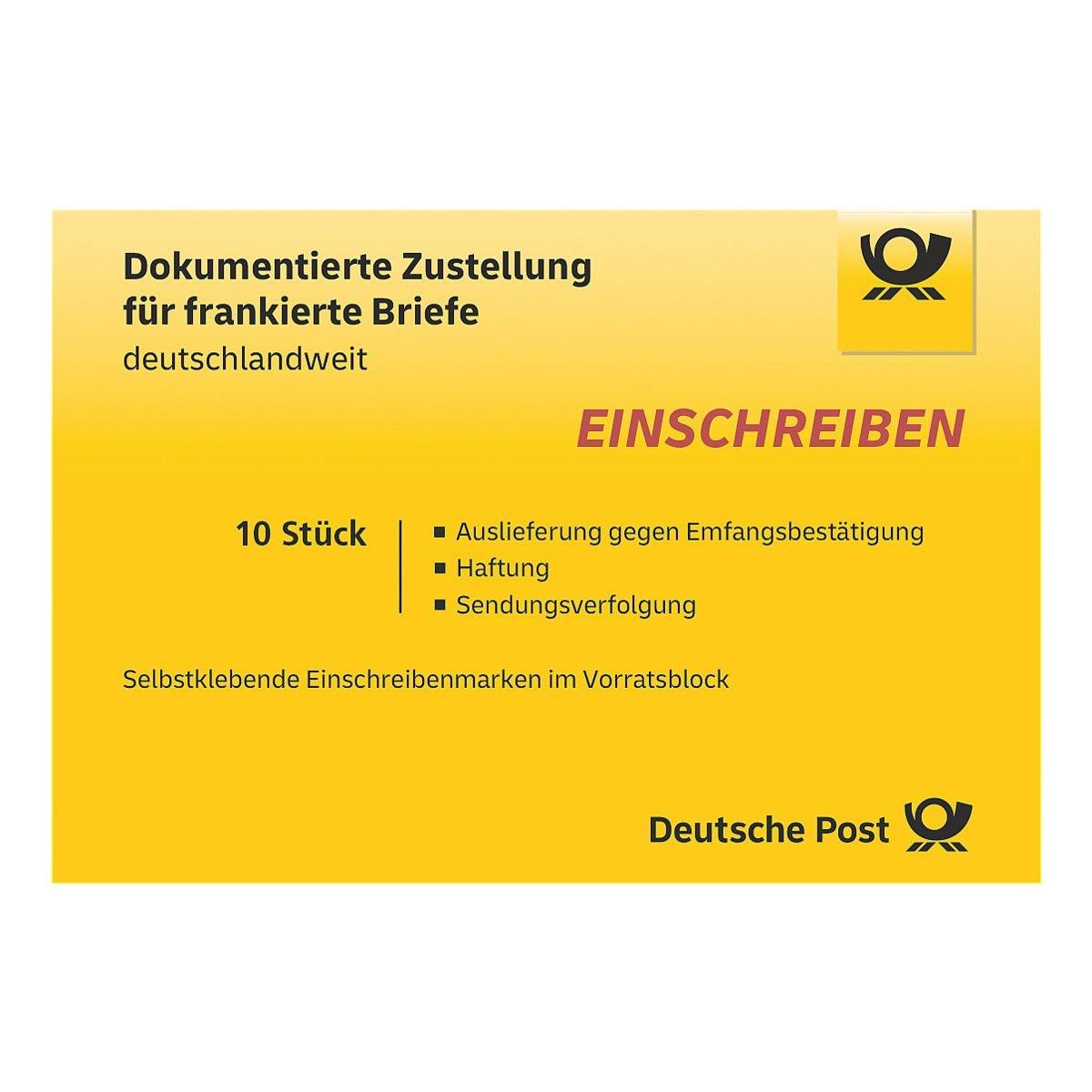 Deutsche Post Einschreiben, 10x im Block selbstklebend