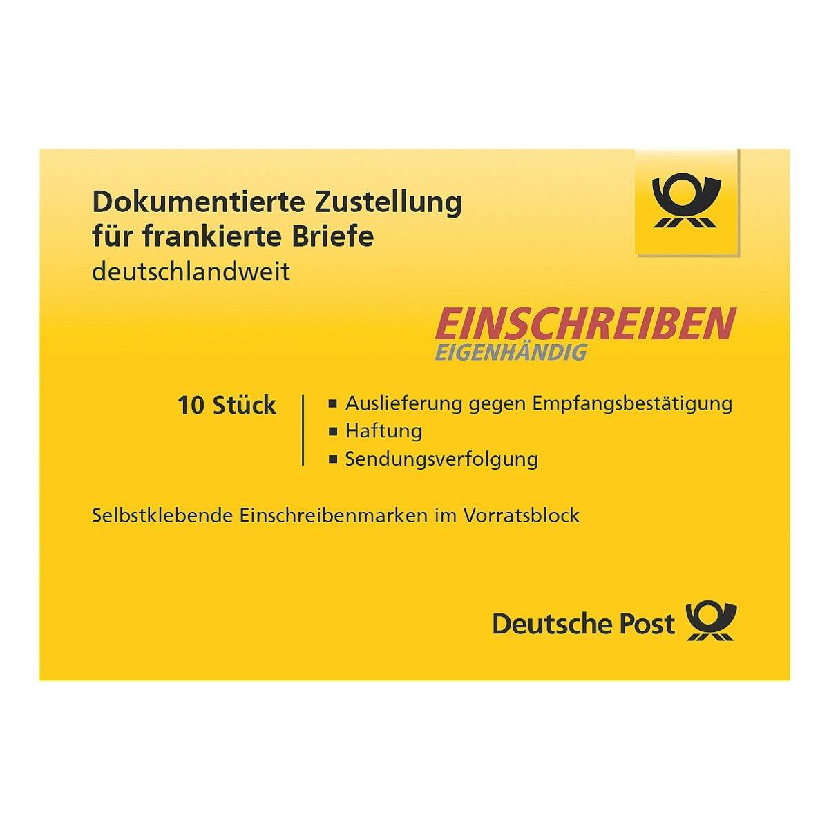 Deutsche Post Einschreiben Eigenhändig, 10x im Block selbstklebend