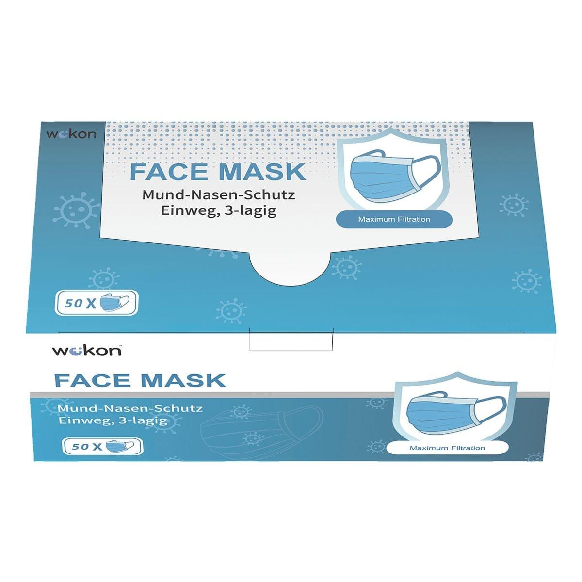 50er-Pack Mund-Nase-Maske 3-lagig Einweg