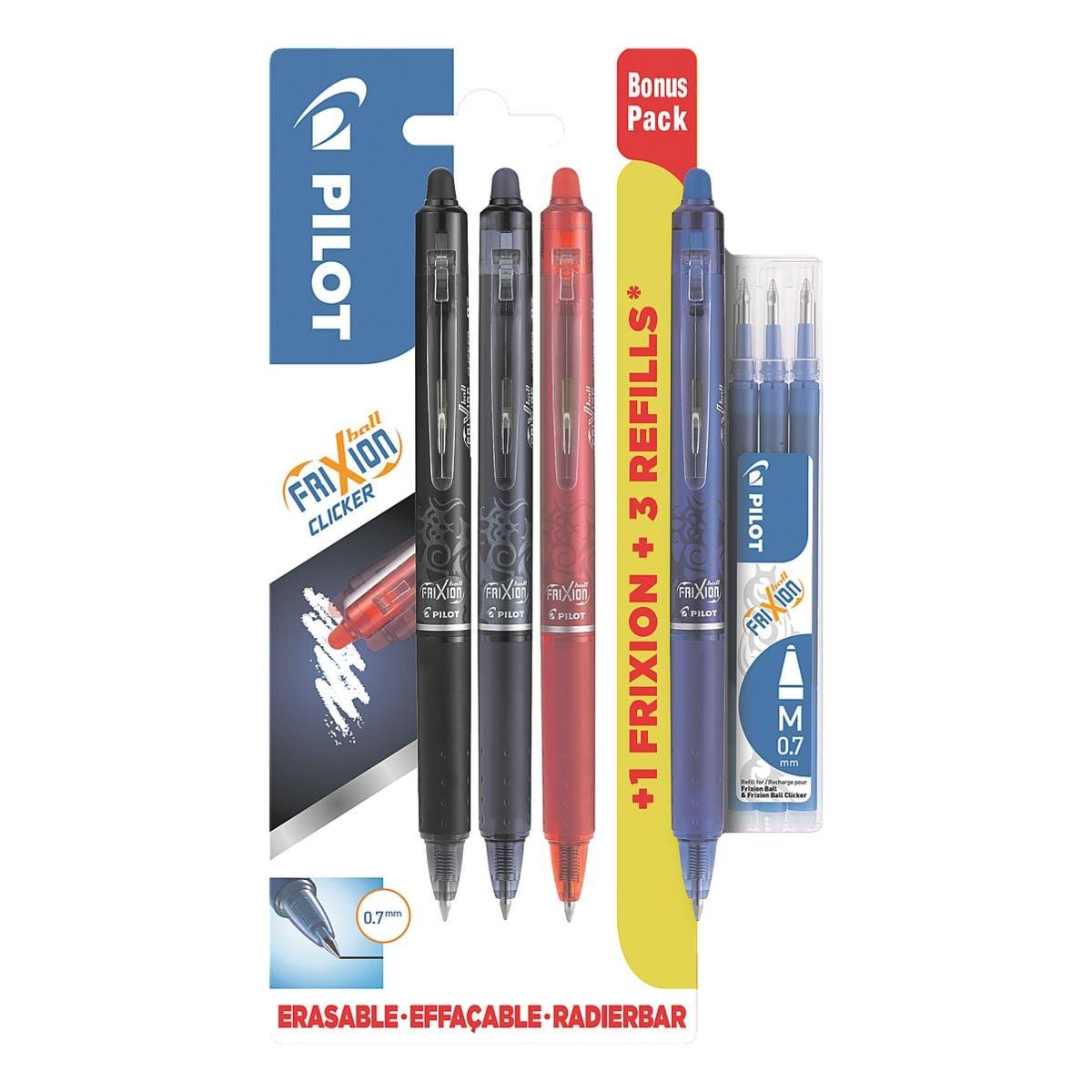 Tintenroller Pilot Bonuspack FriXion Clicker 0.7, radierbar inkl. 3er-Set Minen (blau)
