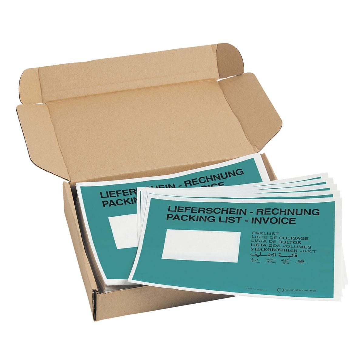 Mailmedia 250er-Pack Dokumenten- und Lieferscheintaschen mit Aufdruck, C5