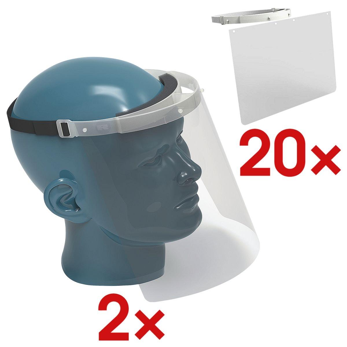 RENZ 2x Nies- und Spuckschutz Gesichtsschutzvisier inkl. 2x 10er-Pack Nies- und Spuckschutz Ersatzschilde