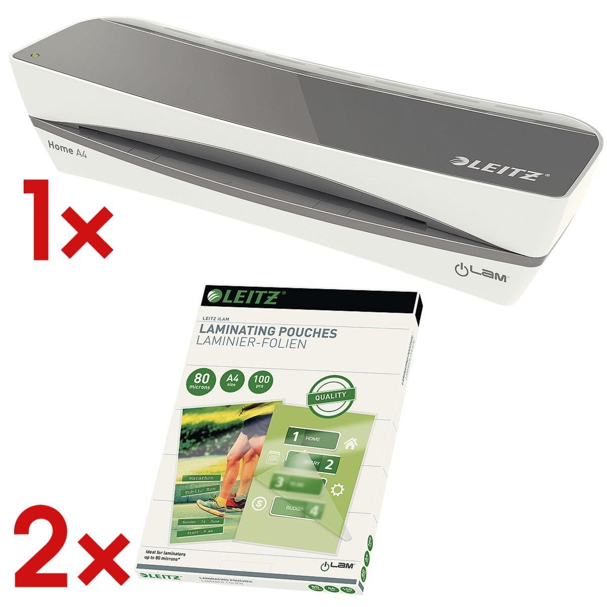 Leitz Laminiergerät Home A4 »iLAM Home« inkl. 2x Laminierfolien A4 100 Stück 80 mic »glänzend«