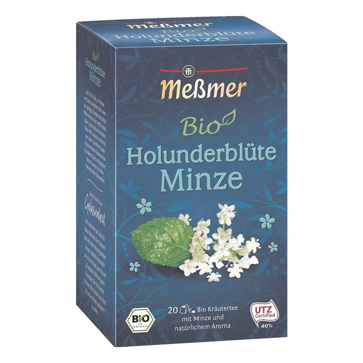 Meßmer BIO Kräutertee »Holunderblüte Minze« Tassenportion, Papierkuvert, 20er-Pack