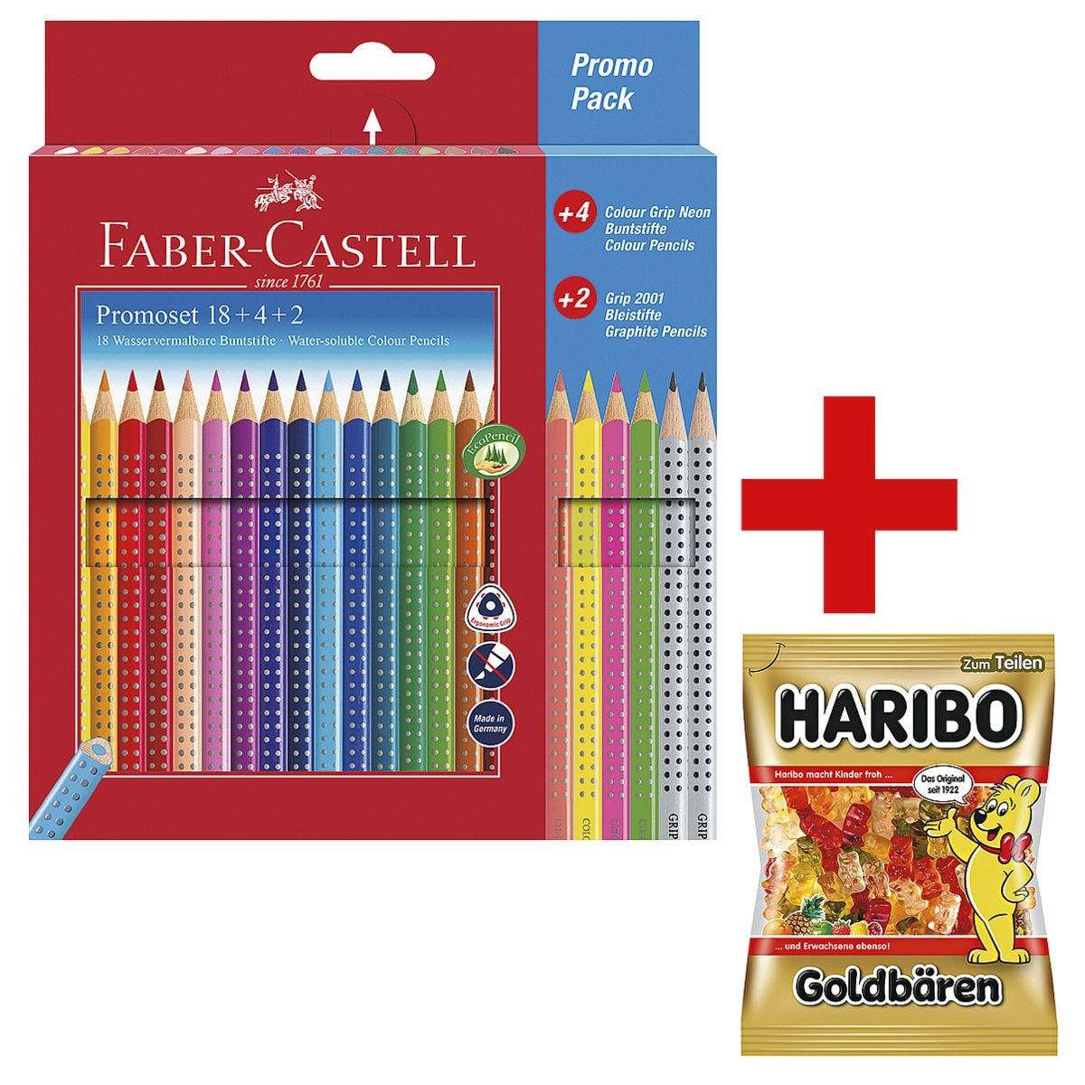 Faber-Castell (Schule) 24-Promo-Pack Buntstifte »Colour GRIP« inkl. Fruchtgummi »Goldbären« 200 g