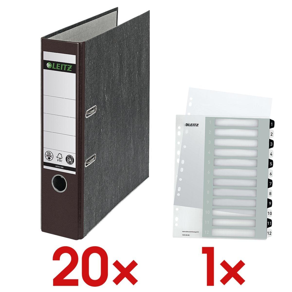 20x LEITZ Ordner A4 »1080 CO2 neutral« breit, Wolkenmarmor mit farbigem Rücken inkl. Kunststoffregister »WOW 1216« 1-12 A4 Maxi