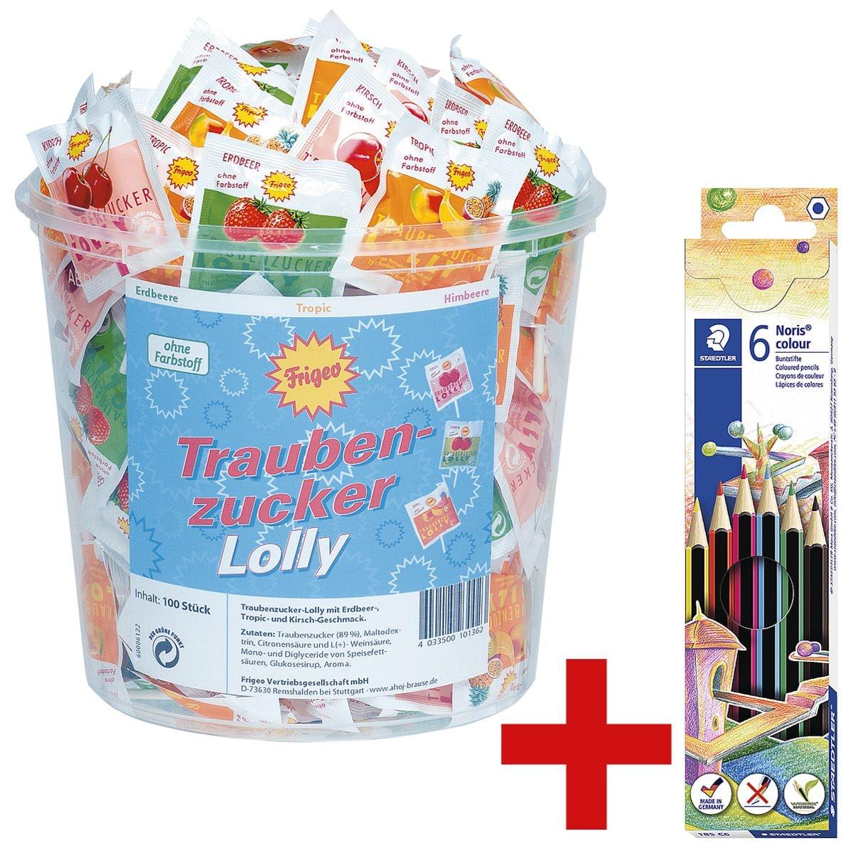 Frigeo 100er-Pack Traubenzucker-Lollys inkl. 6er-Pack Buntstifte »Noris Colour«