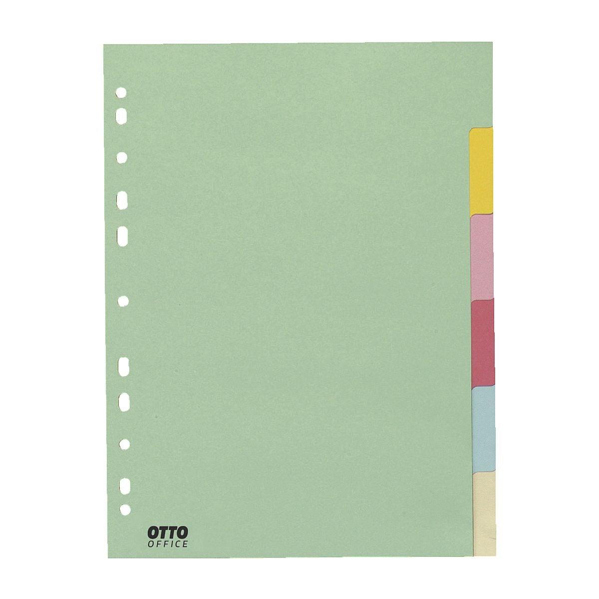 OTTO Office Register, A4, blanko 6-teilig, Pastellfarben, Recycling-Karton