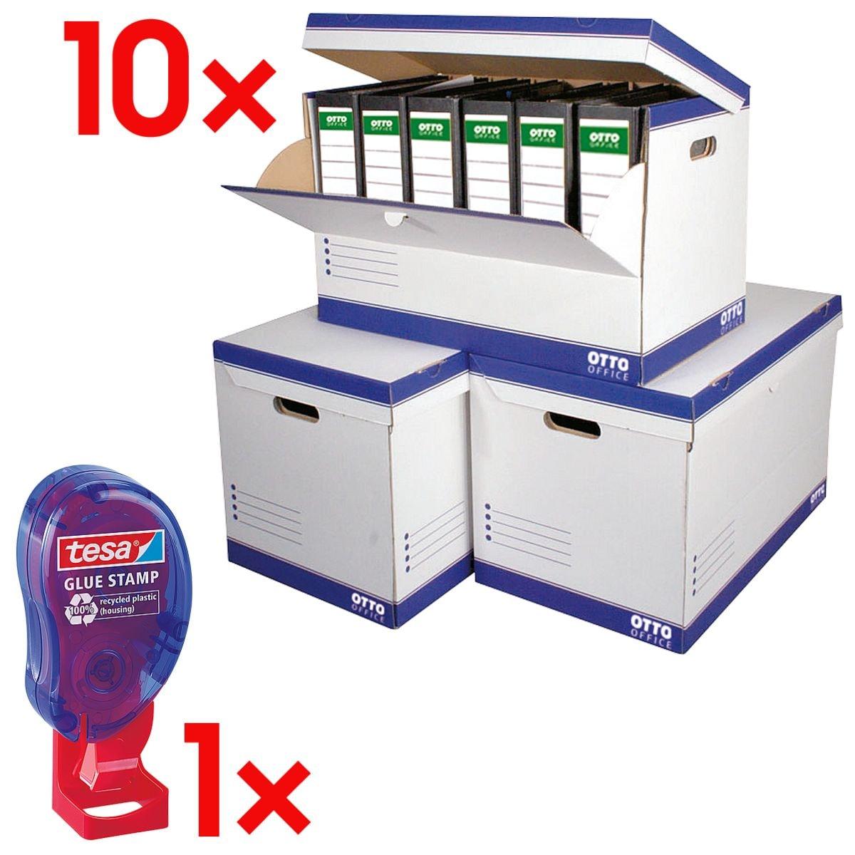 OTTO Office Ordner-Container - 10 Stück (halboffen) inkl. Klebestempel »ecoLogo®« 59099 200 Stk.