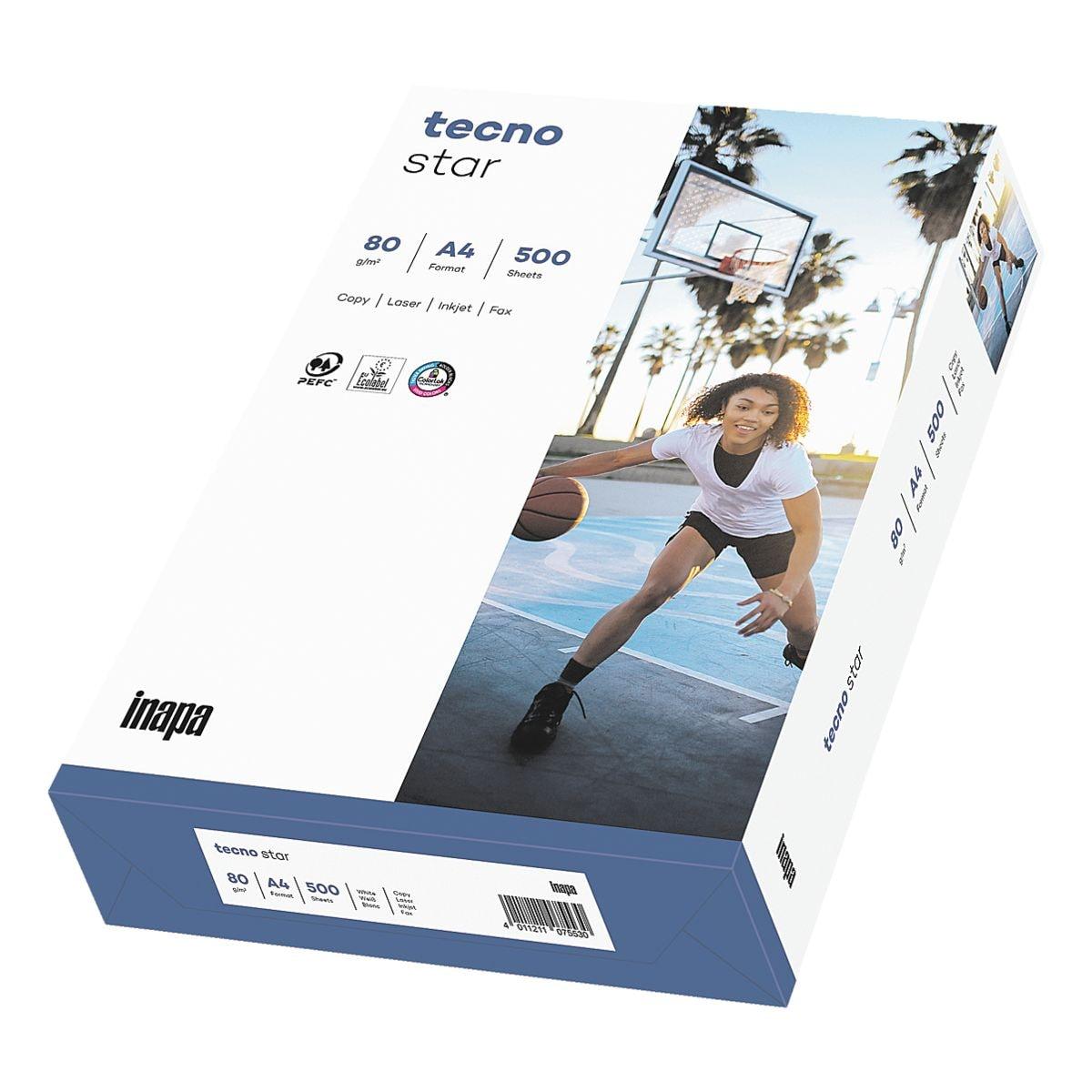 Kopierpapier A4 Inapa tecno Star - 500 Blatt gesamt, 80g/qm