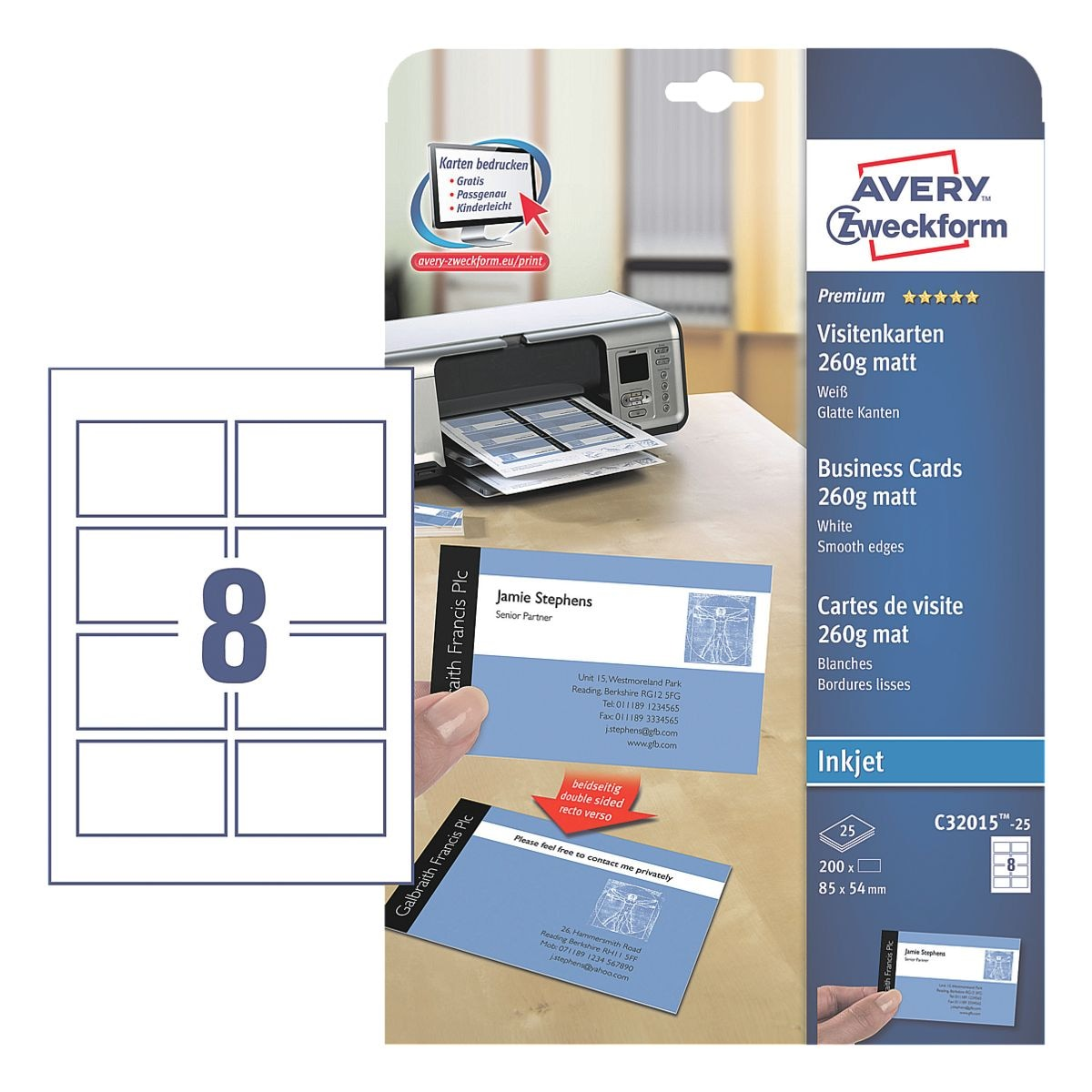 Avery Zweckform Visitenkarten C32015-25