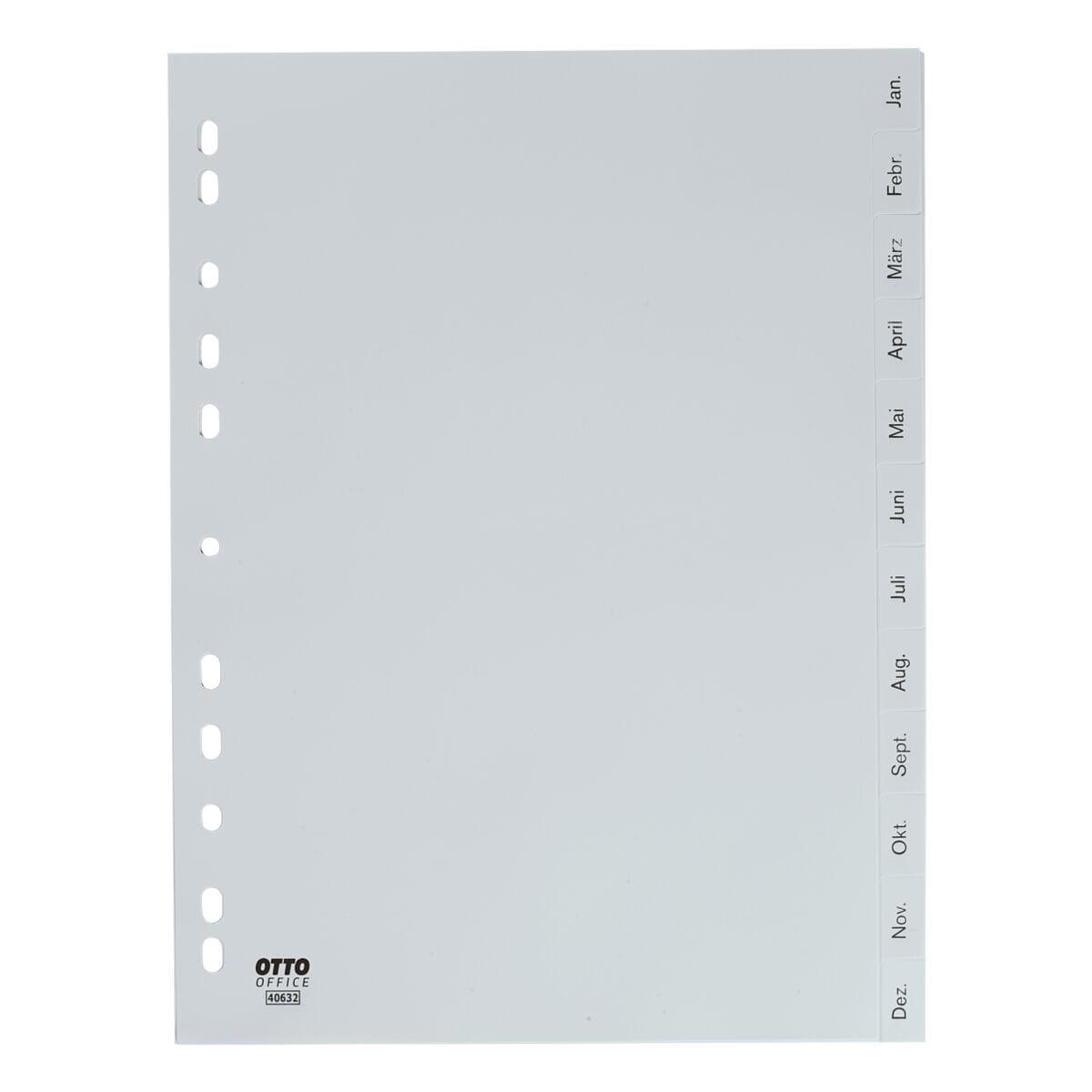 OTTO Office Register, A4, Jan.-Dez. 12-teilig, grau, Kunststoff