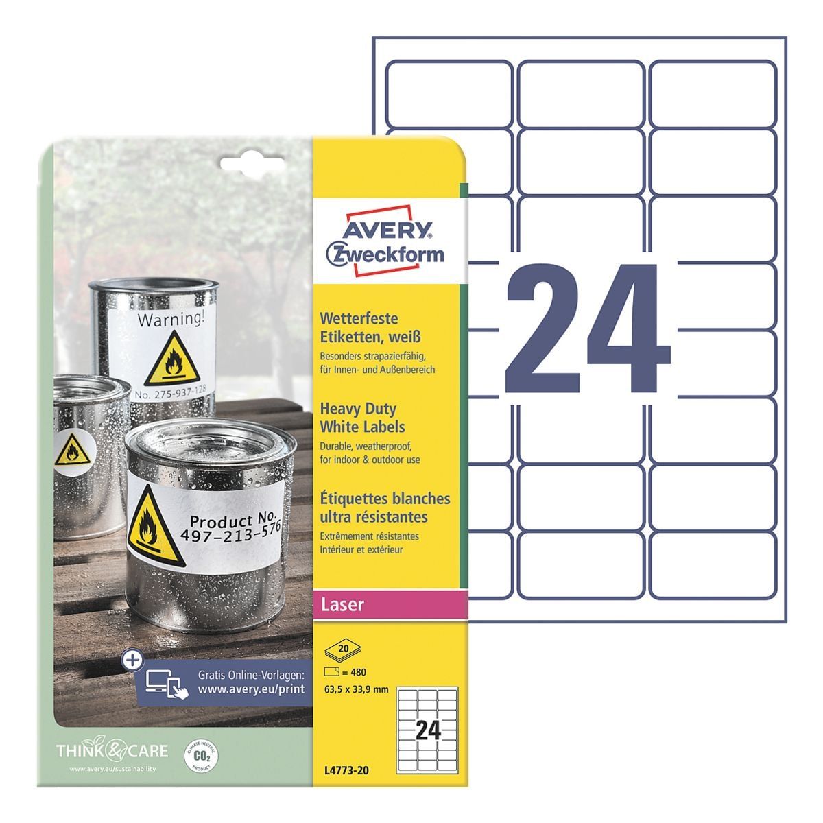 Avery Zweckform Wetterfeste Folien-Etiketten 63,5 x 33,9 mm »L4773-20«