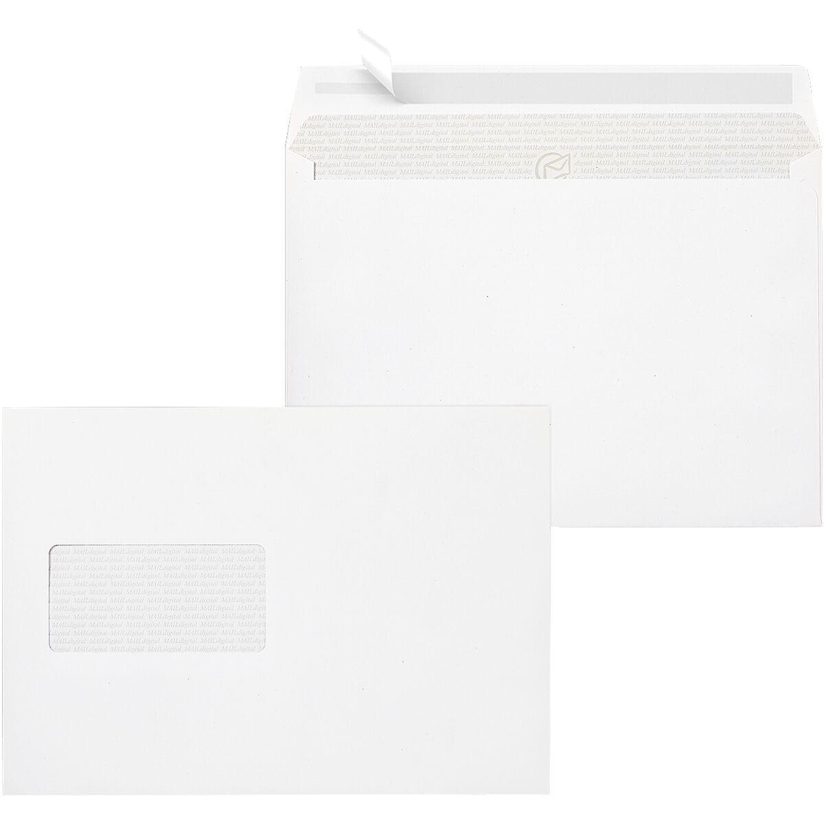 Briefumschläge Mailmedia Maildigital, C5 100 g/m² mit Fenster, haftklebend - 250 Stück