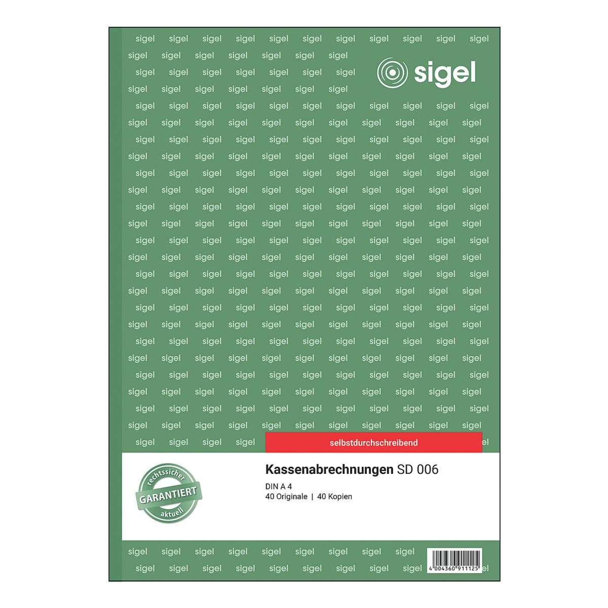 Sigel Formularbuch »Kassenabrechnung« SD006