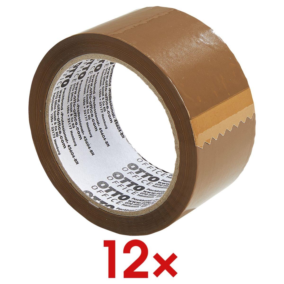 12x Packband OTTO Office Professional, 50 mm breit, 66 Meter lang - mittellaut abrollbar