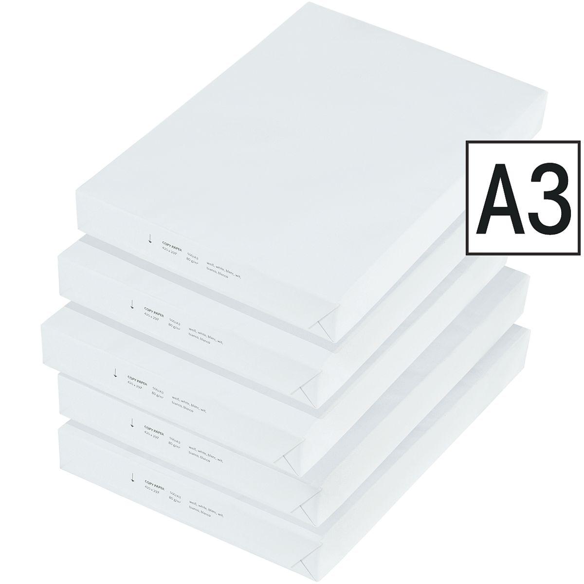 5x Kopierpapier A3 - 2500 Blatt gesamt, 80 g/m²