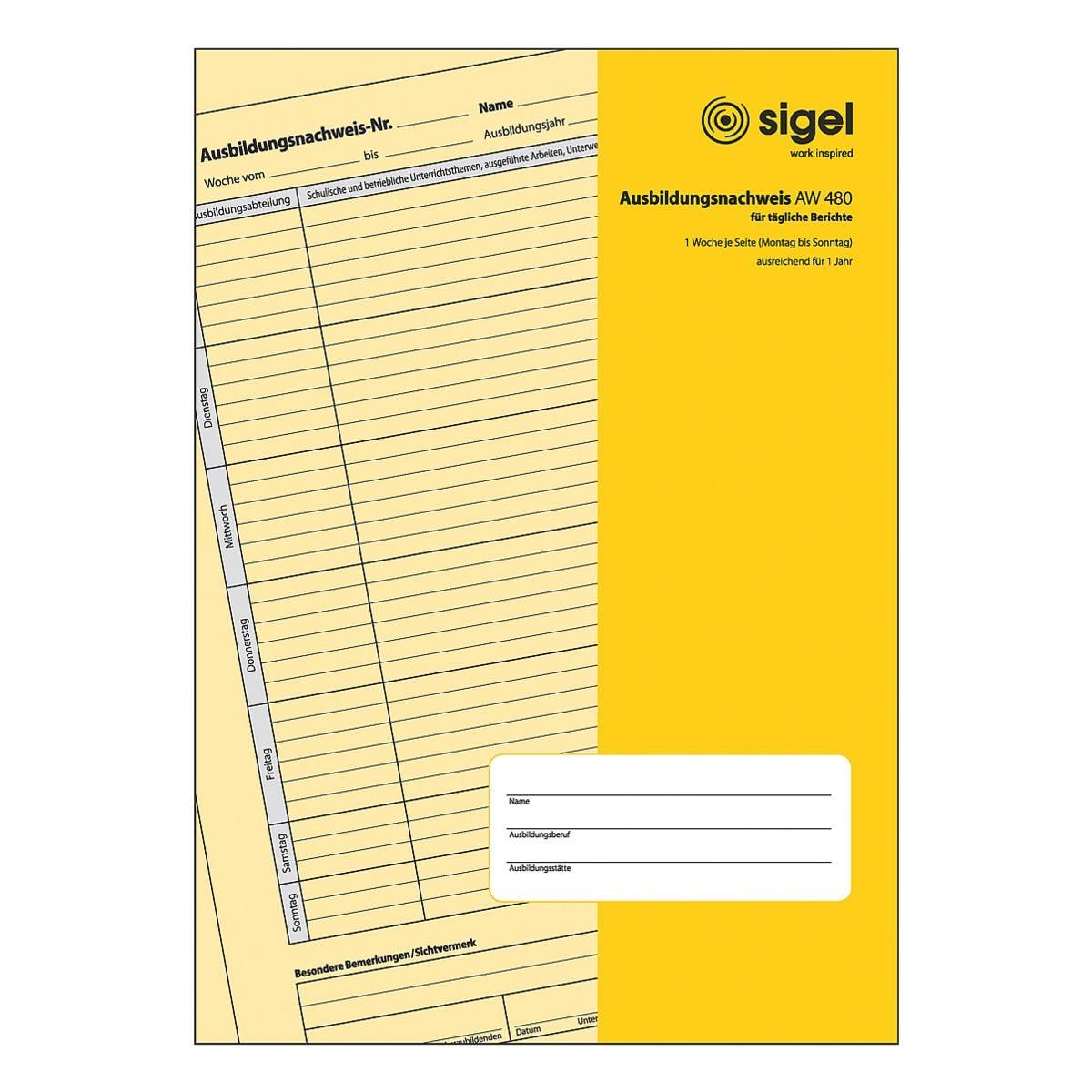 Sigel Formularvordrucke »Ausbildungsnachweis« AW480