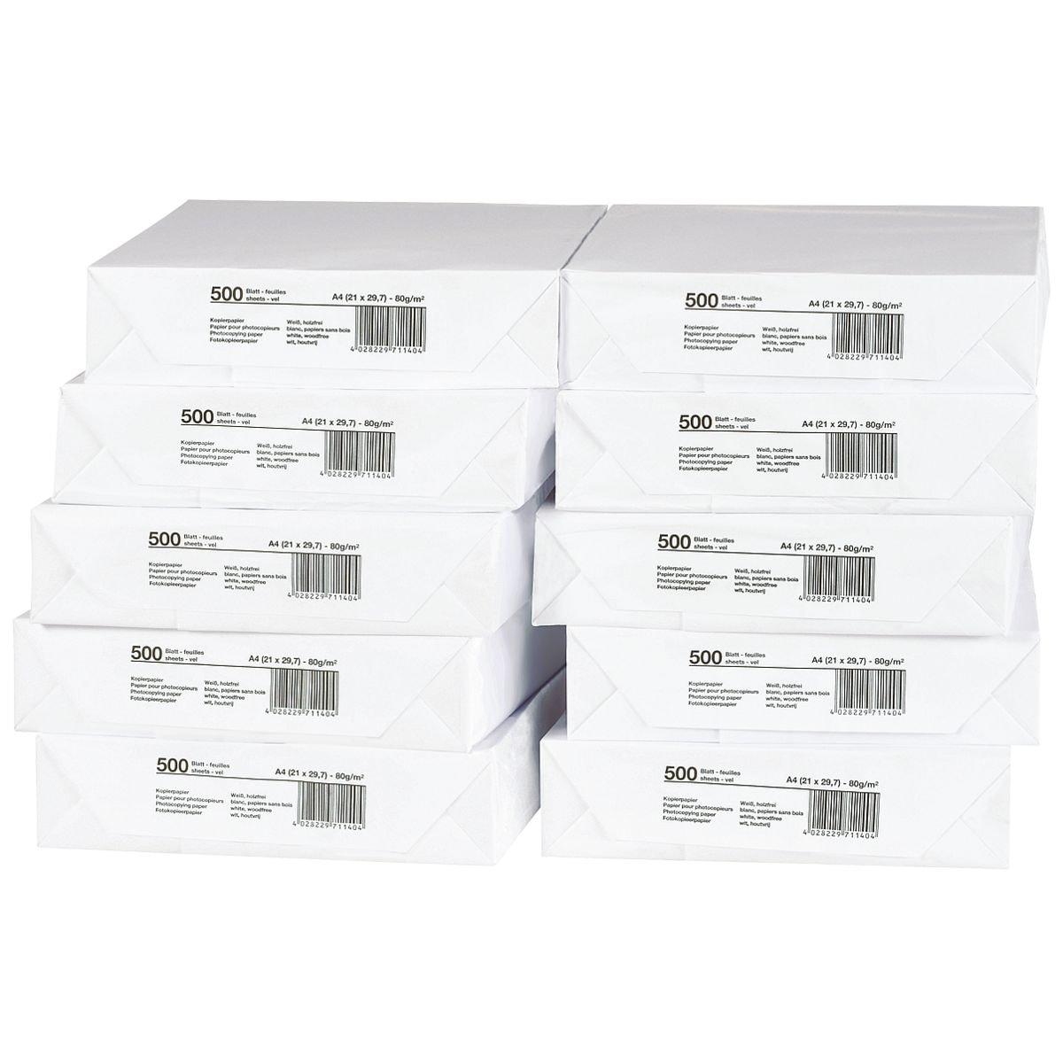 10x Kopierpapier A4 - 5000 Blatt gesamt, 80 g/m²