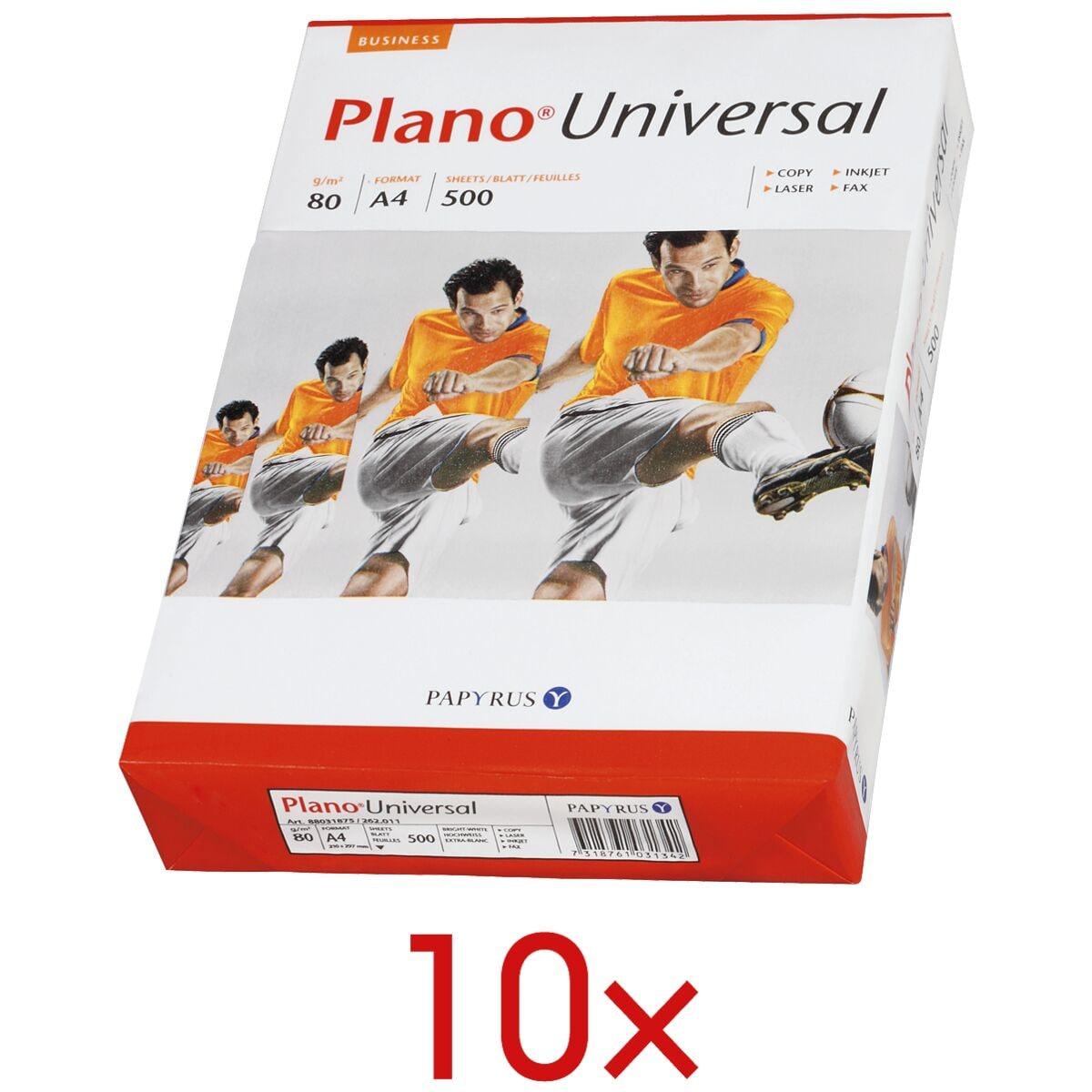 10x Kopierpapier A4 Plano Universal - 5000 Blatt gesamt, 80g/qm