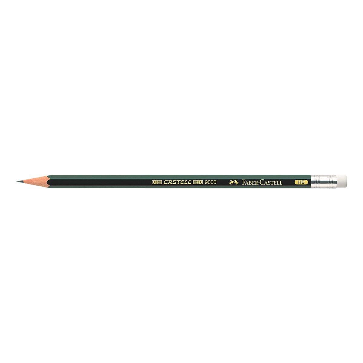Bleistift Faber-Castell 9000, HB, mit Radiergummi