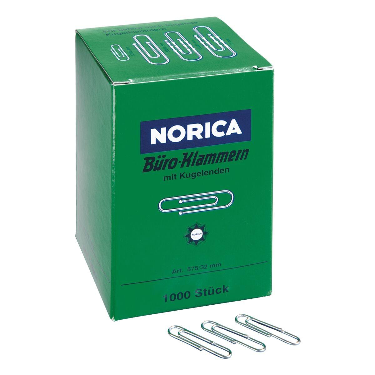 Norica Büroklammern 32mm glatt, silberfarben, 1000 Stück