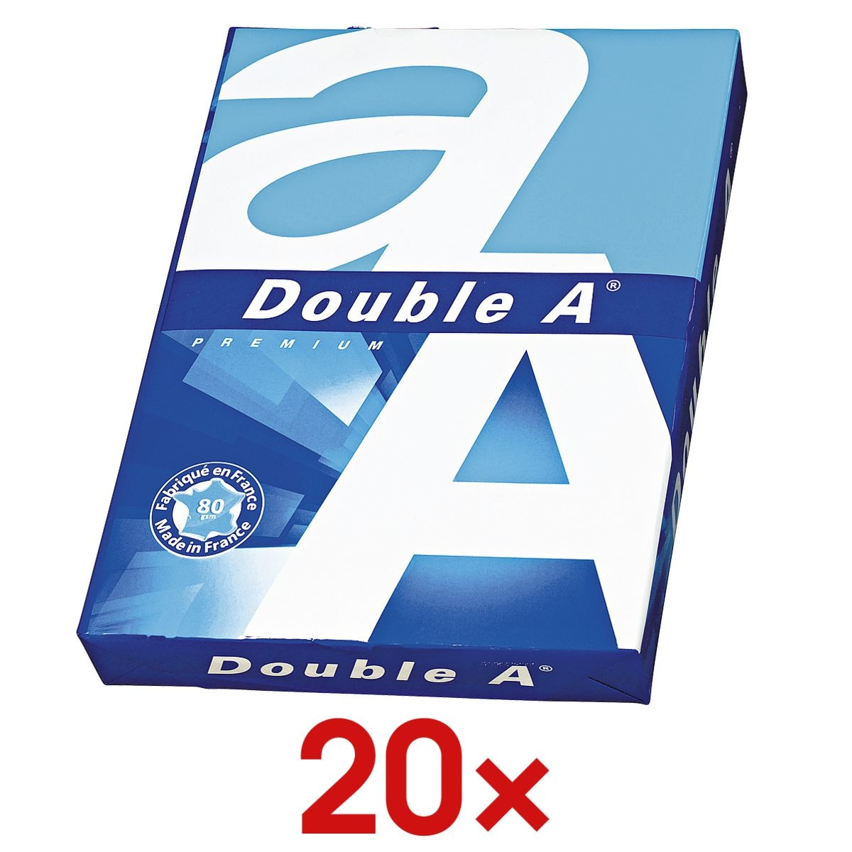 20x Multifunktionales Druckerpapier A4 Double A - 10000 Blatt gesamt, 80 g/m²