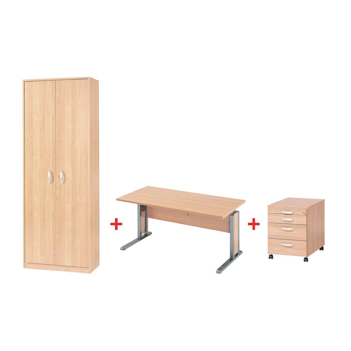 Wellemöbel Möbel-Set »Jobexpress« 3-teilig, Schreibtisch mit C-Fuß ...