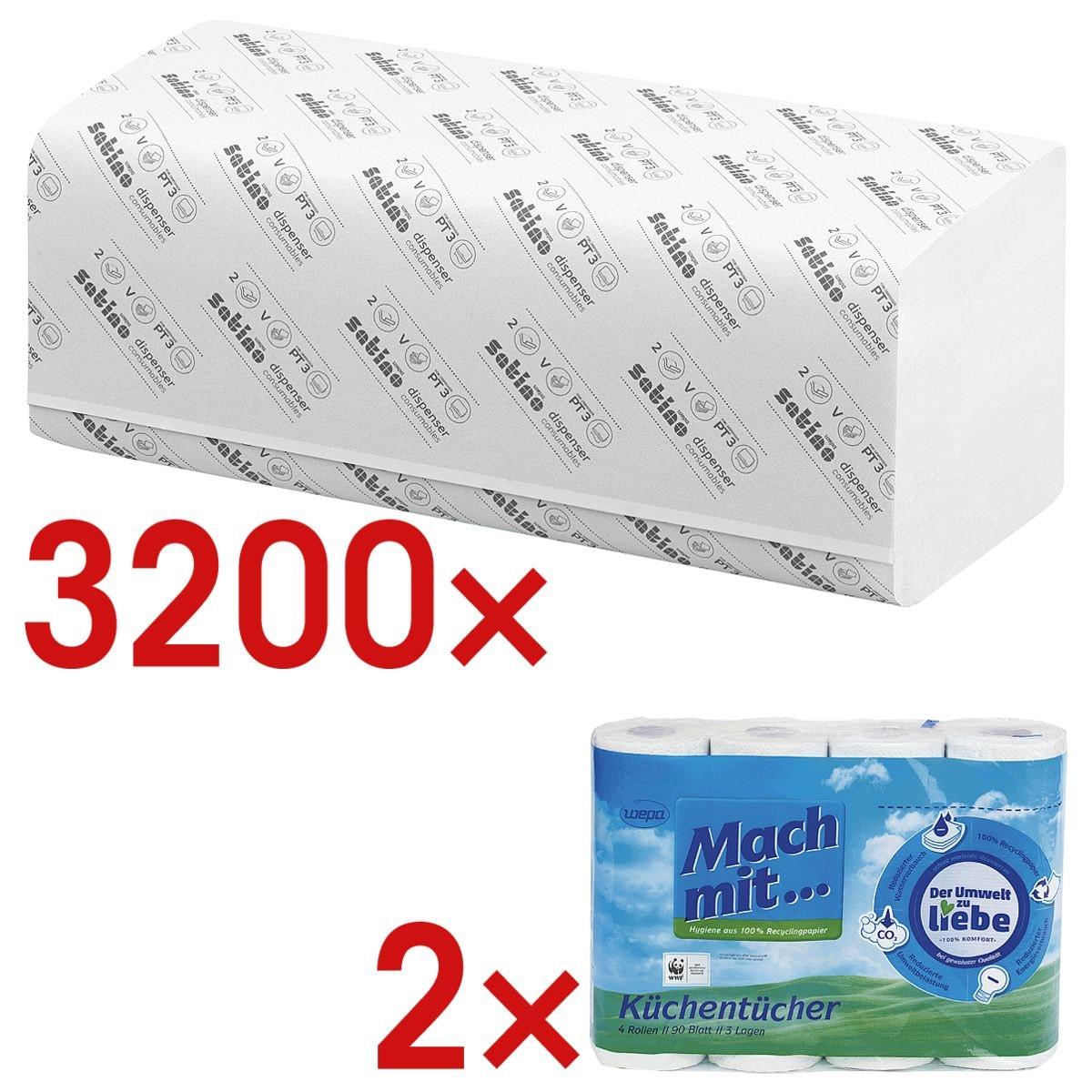 Papierhandtücher Satino comfort 2-lagig, naturweiß, 25 cm x 23 cm aus Tissue mit Z-Falzung - 3200 Blatt gesamt inkl. Küchenrollen 3-lagig, 4 Rollen
