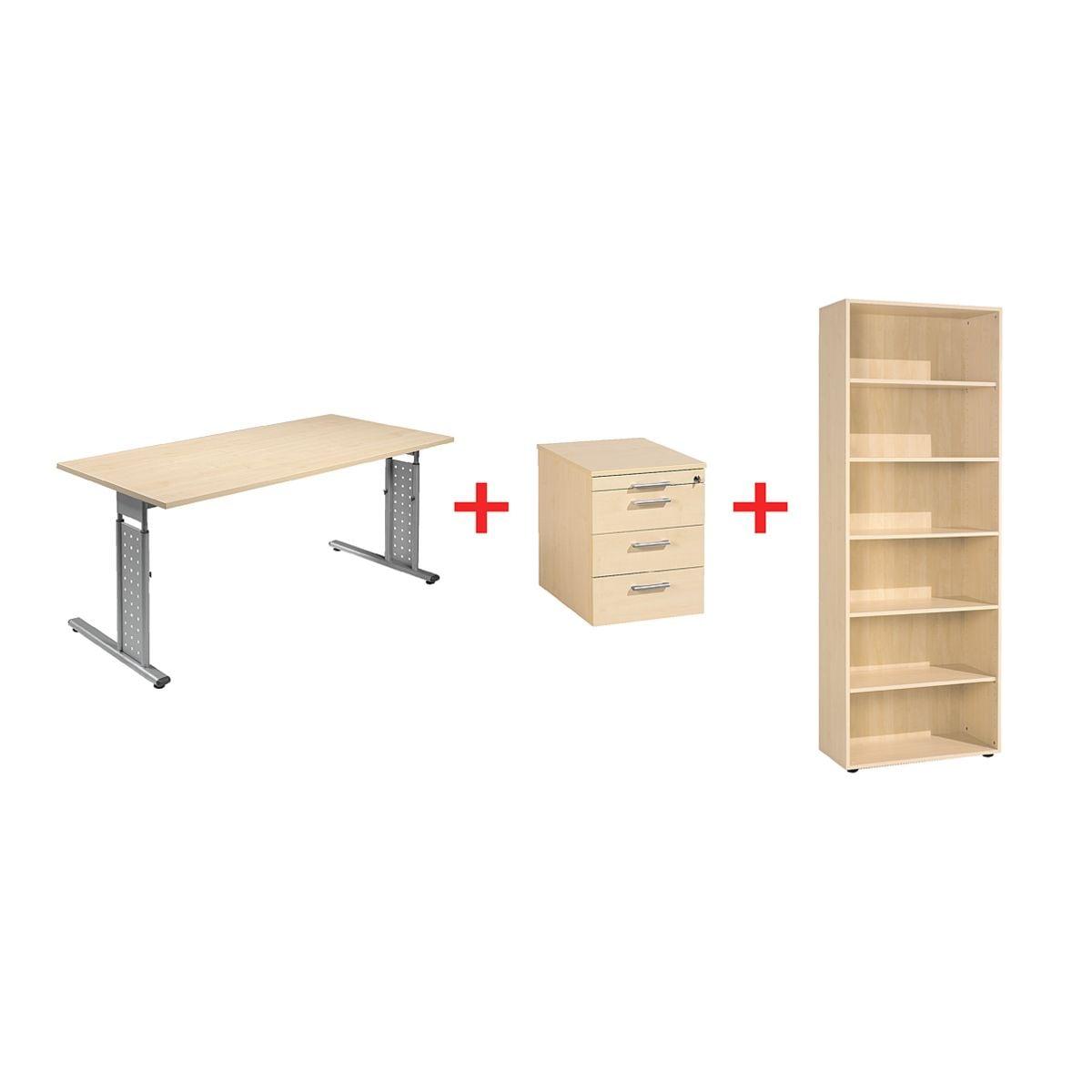 m bel set new york 3 teilig schreibtisch mit c fu rollcontainer und regal bei otto office. Black Bedroom Furniture Sets. Home Design Ideas