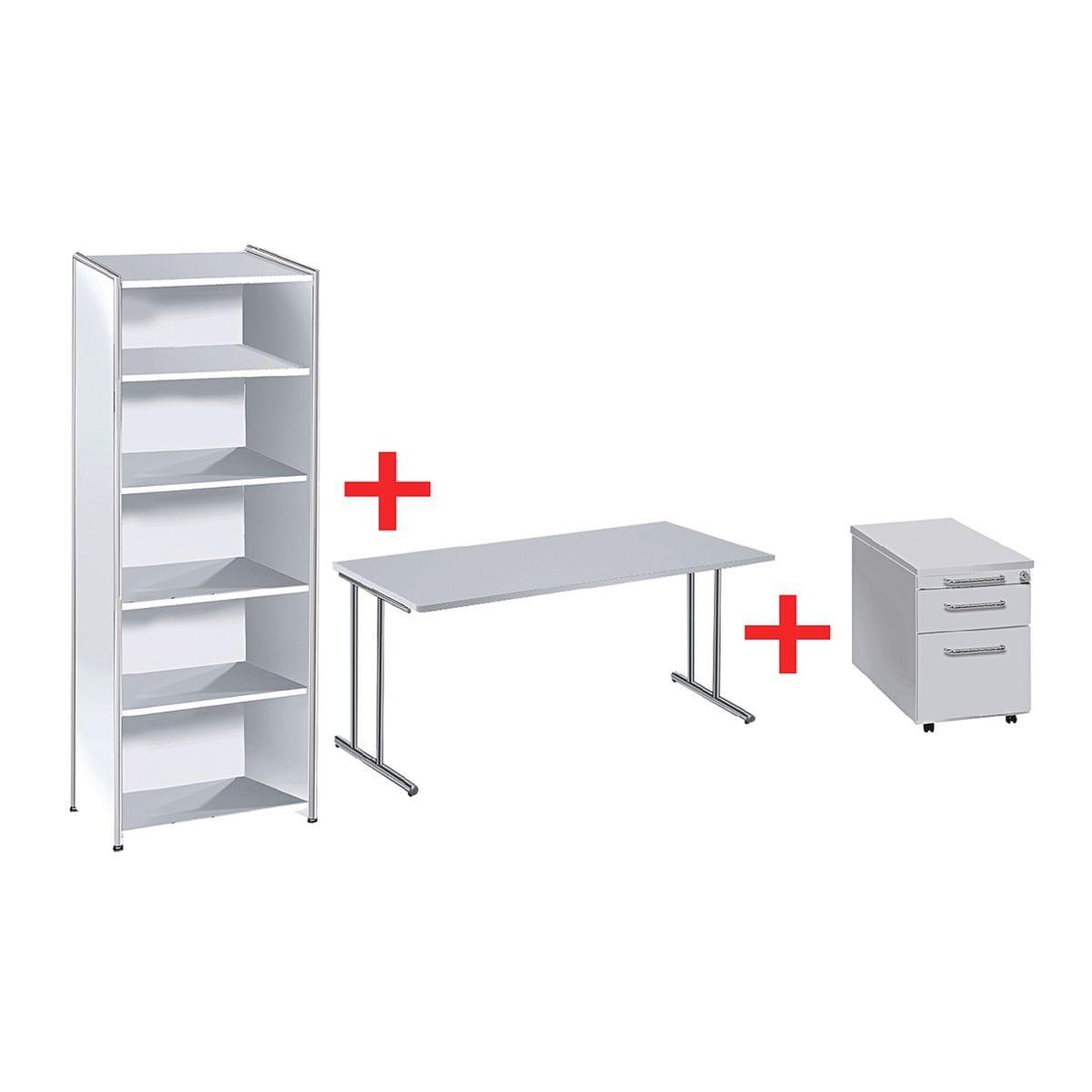 kerkmann m bel set artline transparent 3 teilig schreibitsch mit c fu rollcontainer und. Black Bedroom Furniture Sets. Home Design Ideas