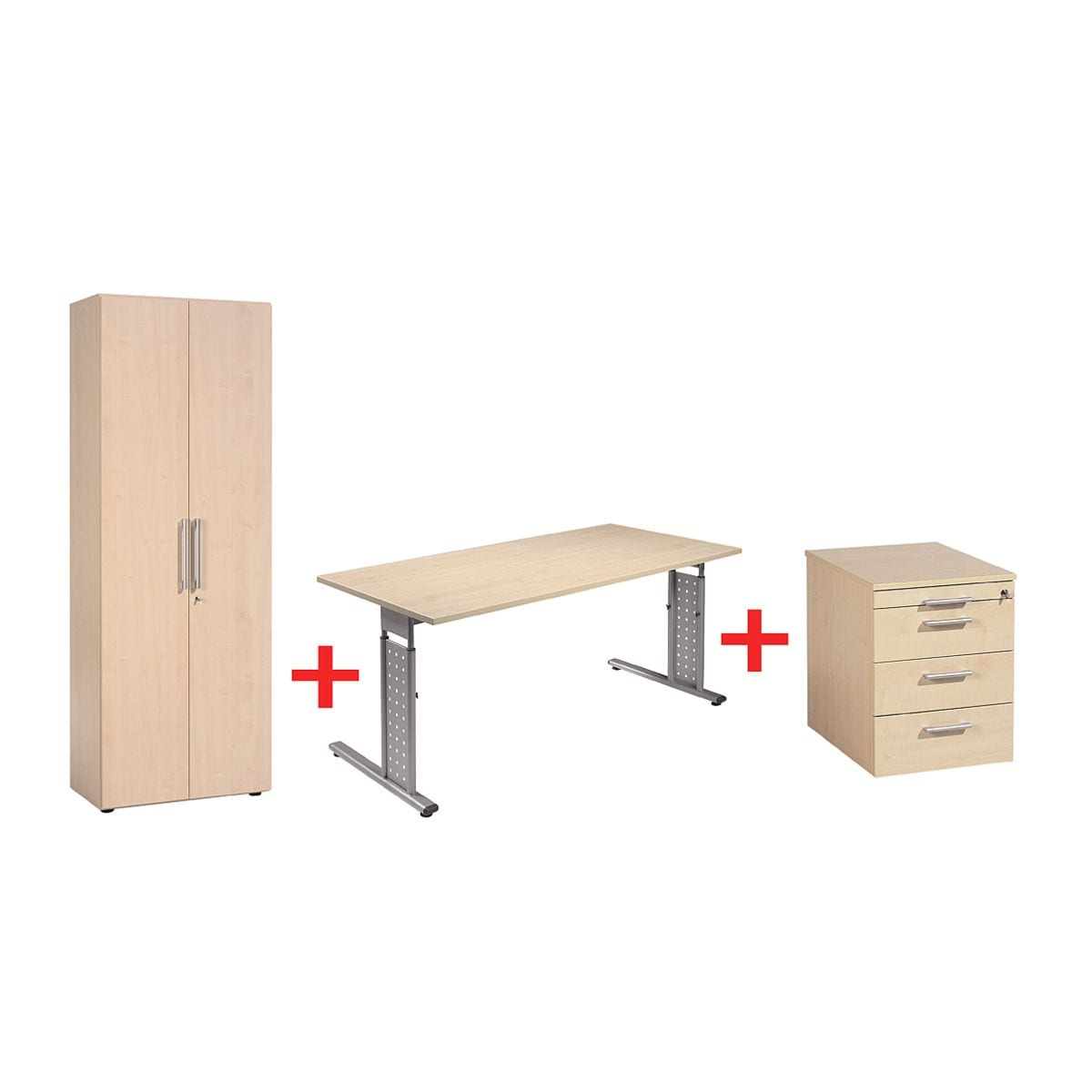 geram bel m bel set new york 3 teilig schreibtisch mit c fu rollcontainer und schrank bei. Black Bedroom Furniture Sets. Home Design Ideas