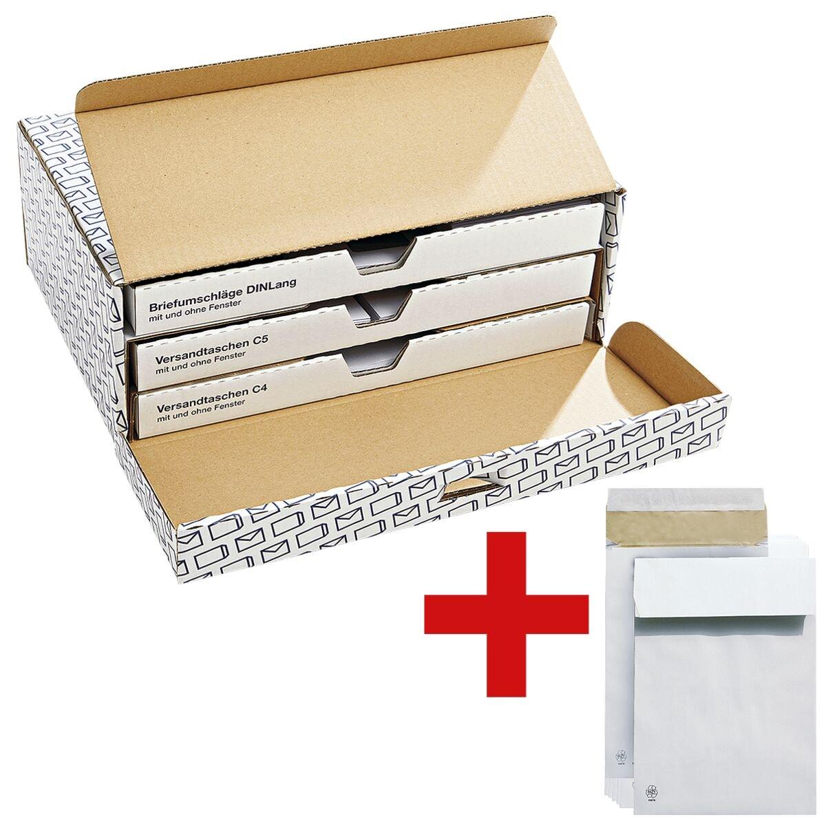 Komplett-Box Steinmetz Der Versender, DL, C5, C4 - 100 Stück inkl. 5er-Pack Polsterfaltentaschen mit Spitzboden