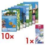 Brunnen 10x Zeichenblock DIN A3 inkl. 12er-Pack Holz-Buntstifte