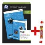 HP Office Value Pack: Tintenpatronen-Set »953 XL C/M/Y« + AIO Papier + Prof. IJ Papier inkl. Fruchtgummi »Roulette«