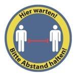 Bodenaufkleber »Hier warten! Bitte Abstand halten! 2 Personen« rund Innenbereich Ø:30 cm blau / gelb