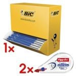 100x Kugelschreiber BIC M10, dokumentenecht inkl. 2x Einweg-Korrekturroller »Mini Pocket Mouse«