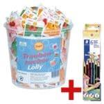 100er-Pack Traubenzucker-Lollys inkl. 6er-Pack Buntstifte »Noris Colour«
