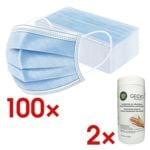 2x 50er-Pack Medizinische Mund-Nase-Masken Typ II R inkl. 2x Flächendesinfektion-Fertigtücher