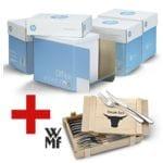 4x Öko-Box Multifunktionspapier A4 HP Office - 10000 Blatt gesamt, 80g/qm inkl. 12-teiliges Steakbesteck-Set »Nuova« mit Holzkiste