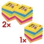 2+1 Post-it 7,6 x 7,6 cm Super Sticky »Rio de Janeiro« Haftnotizblock, 1620 Blatt gesamt, farbig sortiert 6546SR 2+1 Promo